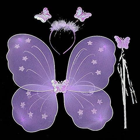 Kasit 3Pc Set partito costume bello principessa Girl Bambini farfalla