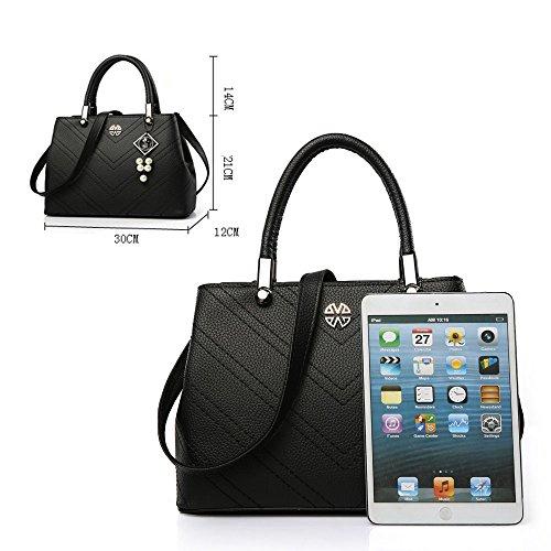 FavoMode, Borsetta da polso donna grigio Graue Handtasche taglia unica Dunkelviolette Handtasche