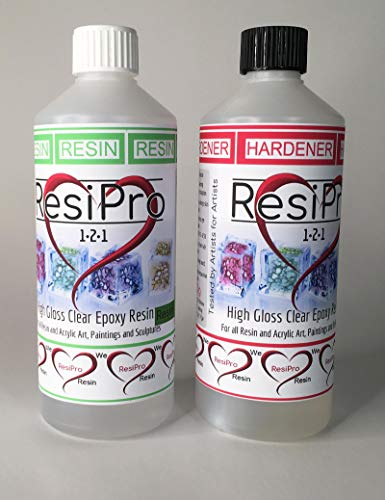 1Kg Epoxy Art Resin Adhesive Hardener Clear High Gloss Home and Art  Projects Non Toxic Tested by Artists Easy to use 1:1 Mix Non Yellowing No  Fumes