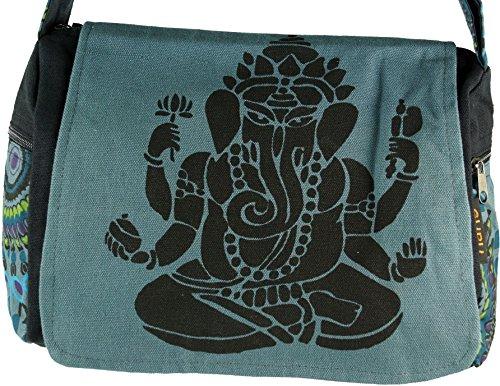 Guru-Shop Schultertasche, Hippie Tasche, Goa Tasche Ganesha - Grün, Herren/Damen, Baumwolle, 23x28x12 cm, Alternative Umhängetasche, Handtasche aus Stoff Grau