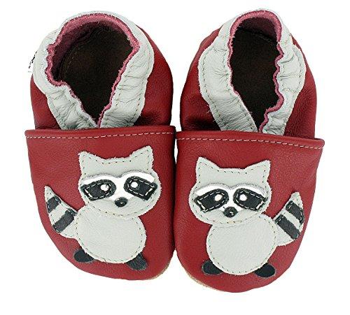 HOBEA-Germany Krabbelschuhe in verschiedenen Farben und Designs mit Tieren , Schuhgröße:20/21 (12-18 Monate);Modell Schuhe:Waschbär Waschbär