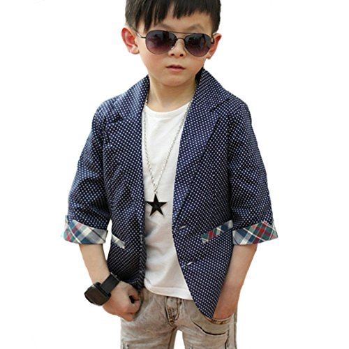 BOBORA Kids Boy Lapel Suits Blazers Jacket Lattice Fashion Casual Coat Outfits 2-7Y