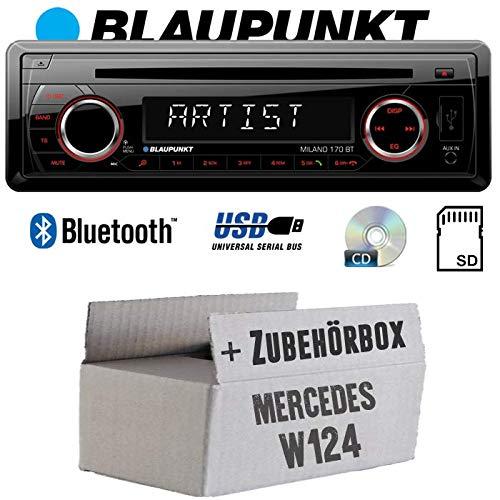 BLAUPUNKT Milano 170 BT - Bluetooth | CD | MP3 | SD | USB Autoradio Radio - Einbauset für Mercedes W124 - JUST SOUND best choice for caraudio (Beste Radio)