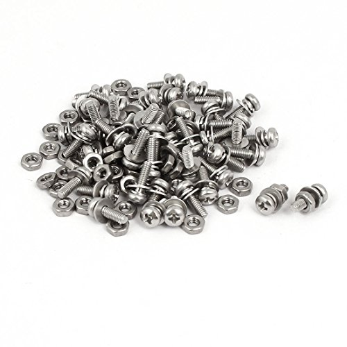 sourcingmap® M2.5 x 8mm 304 Stainless Steel Kreuzschlitz Pan Head Screws Nuts w Washers 50 Sets (Pan Metall-unterlegscheibe)