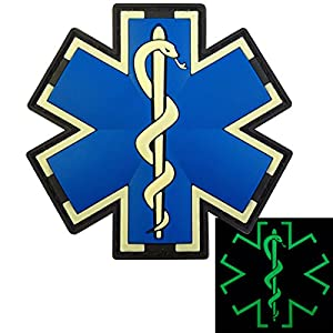 Glow Dark EMS EMT Medic Paramédical Paramedic Star of Life Morale Tactical PVC 3D Velcro Écusson Patch