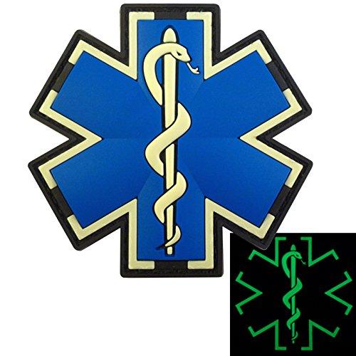 Preisvergleich Produktbild Glow Dark EMS EMT Medic Sanitäter Paramedic Star of Life Morale Taktisch Tactical PVC 3D Fastener Aufnäher Patch