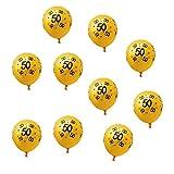 Oblique-Unique 10x Luftballons mit Zahl 50 für Geburtstag Jubiläum Goldene Hochzeit Ballons - Gelb mit schwarzem Aufdruck