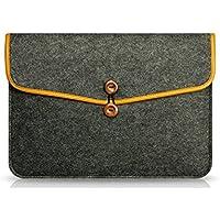 Funda de fieltro de lana protectora marca KimTime tipo bolso estilo sobre forrado para ordenador portátil, Macbook Air o iPad de 11 pulgadas a 15 pulgadas gris gris oscuro 13 pulgadas