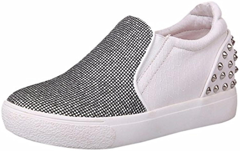 Fruehling neue Plattform Pailletten Schuhe flache Niet abgerundeter Spitze Beleg auf Schuhen Faulenzer