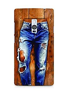 Amez designer printed 3d premium high quality back case cover for OnePlus Two (Girl in stylish torn Jeans on wooden Texture)