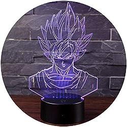 Illusione Ottica 3D NHSUNRAY Tasto di Tocco Colore 7 Che Cambia la Luce di Notte Del LED Desk Lamp per Home Decor Kids Del Regalo di Natale (Sfera del drago)