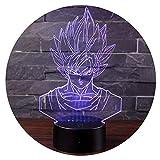 3D Lámpara de Escritorio Mesa 7 cambiar el color botón táctil de...