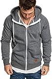 Amaci&Sons Herren Zipper Kapuzenpullover Sweatjacke Pullover Hoodie Sweatshirt 4026 Anthrazit L