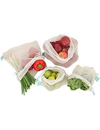 Earthtopia riutilizzabili di frutta e verdura sacchetto in cotone biologico (GOTS)–Reti verdure frutta spesa reti, verde menta, 4er Set (2x M, 2x L)