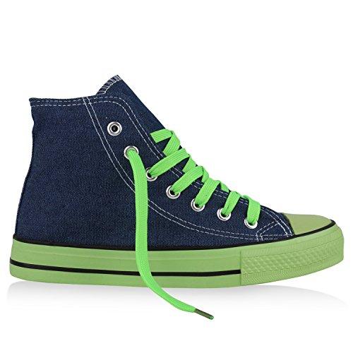 best-boots Donna Uomo scarpe da ginnastica Denim Neongrün Nuovo