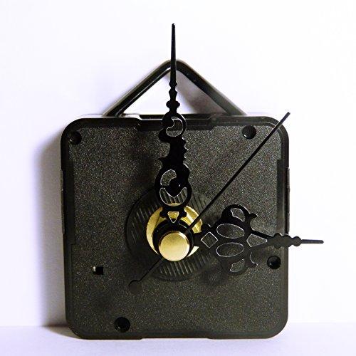 Neuf de remplacement Coutil Mécanisme de mouvement d'horloge à quartz avec métal Noir mains – DIY – Fixations – (Medium – Longueur totale de la tige 18 mm) 50mm Ornate