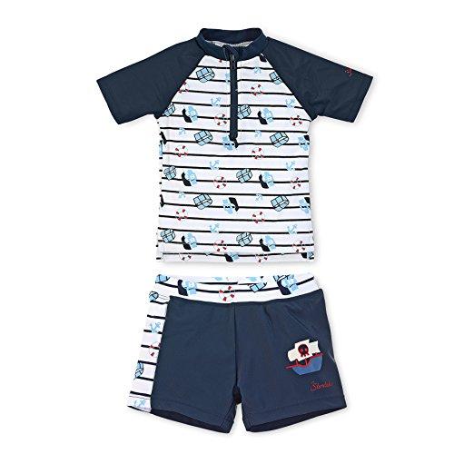 Sterntaler Kinder Jungen 2-teiliger Schwimmanzug mit Windeleinsatz, Kurzarm-Badeshirt und Bade-Shorts, UV-Schutz 50+, Alter: 6-12 Monate, Größe: 74/80, Weiß/Dunkelblau