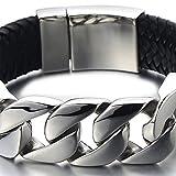 23CM Großes Einzigartiges Geflochtenes Leder-Armband Panzerkette Armband für Herren aus Edelstahl und Echtem Leder - 3