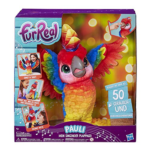 furreal torch FurReal Pauli – mein singender Plappagei, interaktives Plüschtier, sprechender Papagei, Kinder-Spielzeug, deutsche Sprachausgabe, Batterien enthalten, ab 4 Jahren
