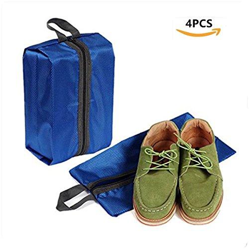 Schuhtasche 4er Set Wasserfeste Schuhbeute Reise Koffer Gepäck Schuhsack Reise für Schuhe,cleveren Trennung von sauberer Kleidung (Blau)