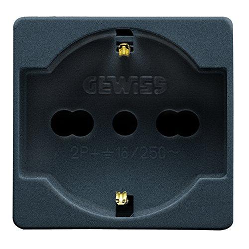 Gewiss 81020S GW21246 System Presa Schuko, 16 A, Bivalente, Nero