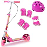 QFFL huabanche Scooter de aluminio Freno de mano Flash Scooter Doble Freno Big Shock Absorber Scooter 2-6 años de edad Niños Scooter Sliding Block 3 colores Opcional (Color : Rosa roja)