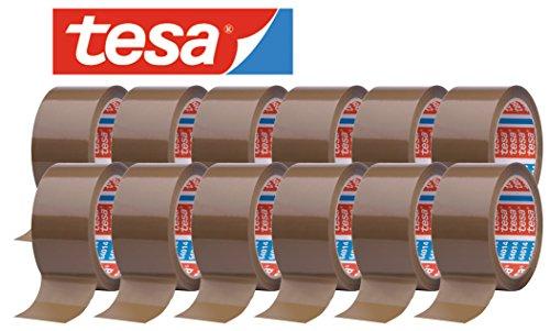 tesa 64014 Klebeband Paketklebeband Packband 66m x 50mm (12 Rollen, Braun)