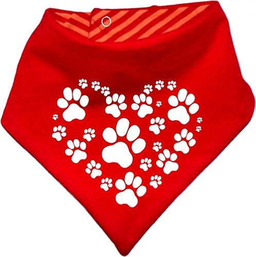 Hunde Wende- Halstuch (Fb: rot-orange) (Gr.1 - HU bis 29 cm) Herz aus Pfoten