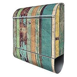 Banjado Design Briefkasten mit Motiv Bunte Bretterwand | Stahl pulverbeschichtet mit Zeitungsrolle | Größe 38x47x14cm, 2 Schlüssel, A4 Einwurf, inkl. Montagematerial