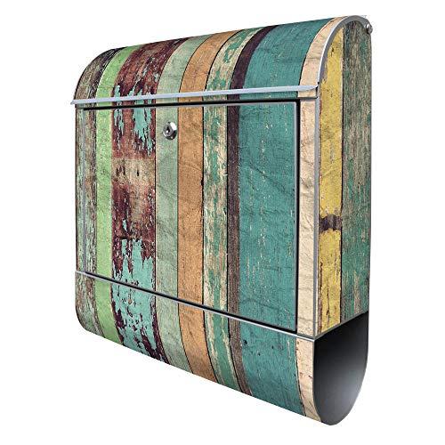 BANJADO Design Briefkasten mit Zeitungsfach, 2 Schlüssel, A4 Einwurf, silber pulverbeschichtet, mit Motiv Bunte Bretterwand