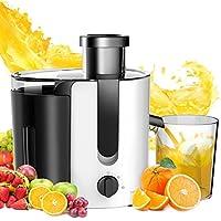Aigostar Grape 30JDA – Extracteur centrifugeuse de jus de fruits et légumes frais 100% sans BPA. 400 W, moteur à deux vitesses, jarre de 500 ml, lames et filtre en acier inoxydable de type 304. Couleur blanc et noir. Design exclusif.