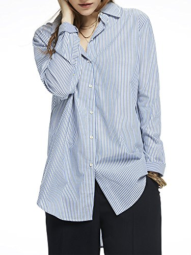 Button-up-shirt (Scotch & Soda Maison Damen Langarmshirt Button Up Boyfriend Shirt, Mehrfarbig (Combo B 18), Small)
