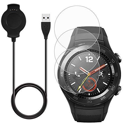 AFUNTA caricabatterie e 3pz pellicole per Huawei Smart Watch 2, computer portatili cavo dock con sostituzione vetro temperato pellicola protettiva antigraffio