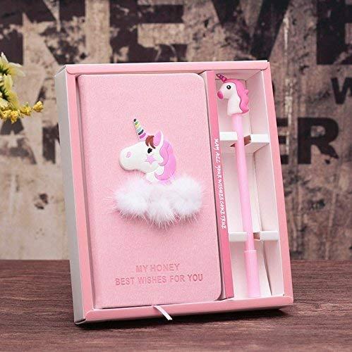 Hwiionne Cuaderno y pluma rosados lindos del diario de los efectos de escritorio del unicornio, regalos de cumpleaños preciosos para las muchachas
