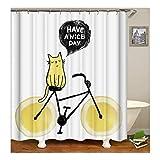 KnSam Duschvorhang Anti-Schimmel Wasserdicht Vorhänge an Badewanne Bad Vorhang für Badezimmer Fahrrad Katze Have a Nice Day 100% PEVA inkl. 12 Duschvorhangringen 150 x 200 cm