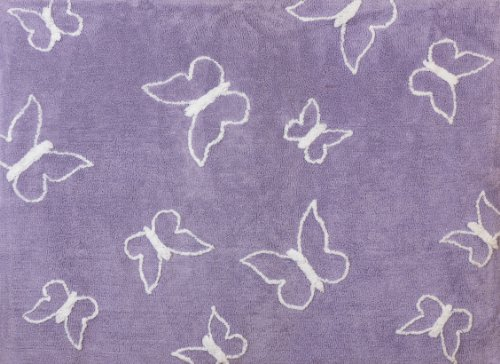 Kinder-fun-teppich (Aratextil Schmetterling Kinder Teppich, Baumwolle, Lila, 120x 160cm)