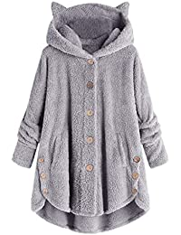 Kobay-women Women's Hooded Coats Plus Size Winter, Button Coat Fluffy Tail Tops Hooded Pullover Hoodies Loose Sweater Blouse