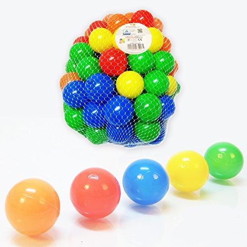 Koenig-tom Bälleset 100 bunte Plastikbälle Babybälle Bälle 6cm für Bällebad Bällchenbad ohne gefährliche Weichmacher, 5 Farbenmix blau / grün / rot / gelb / orange