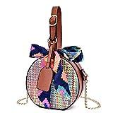 G-wukeer Strohsack Travel Beach Handmade Stroh Handtasche Shopping Woven Umhängetasche für Frauen/Mädchen