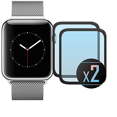 2 x Cristal Templado Protector de Pantalla Para iWatch 42 mm (Black)- NEVEQ® Vidrio Templado, el Apple iWatch 42 mm Full Screen Black (42 mm) Pulgadas piel Protectora de la Cubierta.
