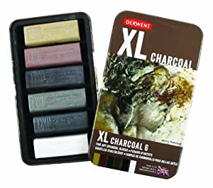 Derwent XL Charcoal Blocks Tin - Multi-Coloured, Set of 6