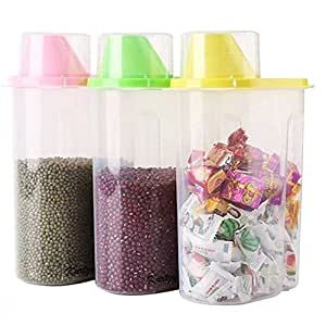 SYGA Set of 3 Large Cereal Dispenser Jar 2500ml Multi Purpose Storage Container Idle for Kitchen-Storage Box Lid Food Rice Pasta Container(Large,Multi)