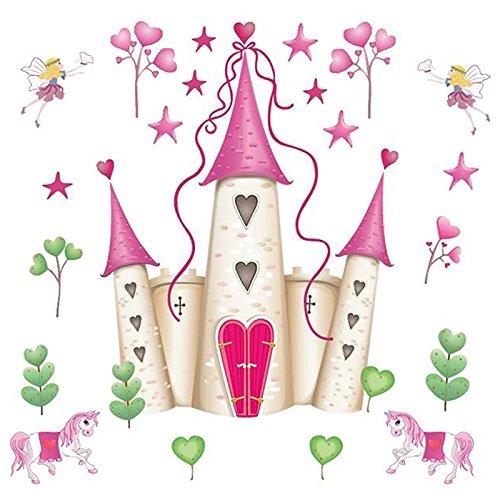 TOOGOO Cartoon Prinzessin Schloss Abnehmbare Wandaufkleber, Kinderzimmer Dekoration