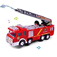 YIMORE Fire Engine Truck Toy, Battery Operated Electric Car Rescue Vehicle With Manual Water Pump Extending Ladder Flashing Lights & Sirens Bump and Go Action Car toy For Kids