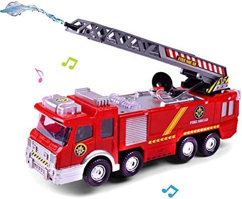 Camion de Pompier avec Lumières Sons et Fonction de Pulvérisation d'eau Maquette Camion   Véhicule pour Plus de 3 Ans | La Qualité