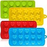 Aifuda Schokoladen-/Süßigkeiten-Formen aus Silikon, 4Packungen, Antihaft-Backformen, Eiswürfelbehälter, für Kuchen, Muffins, Cupcakes, Gumdrop-Gelee -Herz, Stern und Muschel