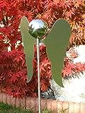 Gartenstecker Engel moderne Gartenskulptur eines Engels komplett aus Edelstahl