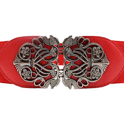Malloom® Retro Antiguo Flor mujeres Cinturones (Rojo)