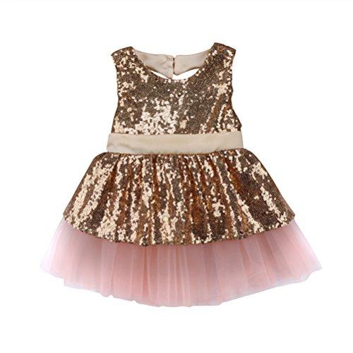 CAT1-RHD Prinzessin Kids Baby Mädchen Pailletten Kleid Party Brautkleid Abendkleider (3-4 Jahre, Champagner)
