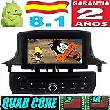 Renault Megane III/Fluence Android 8.1 Quad Core 2GB RAM 16 GB ROM GPS Radio Coche DVD AUTORADIO WiFi 3g 4g navi navegador AÑO:2009 2010 2011 2012 2013 2014 (Negro)